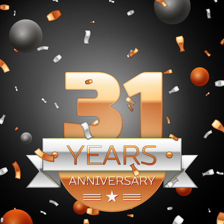 31th: Thirty one years anniversary celebration background with silver ribbon confetti and circles. Anniversary ribbon. Vector illustration.
