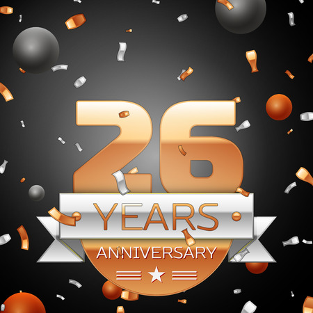 twenty six: Twenty six years anniversary celebration background with silver ribbon confetti and circles. Anniversary ribbon. Vector illustration. Illustration