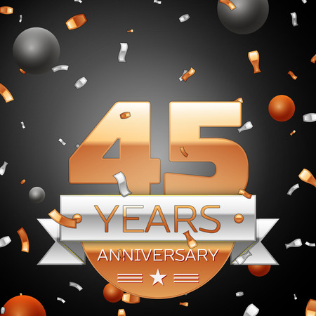 45th: Forty five years anniversary celebration background with silver ribbon confetti and circles. Anniversary ribbon. Vector illustration. Illustration