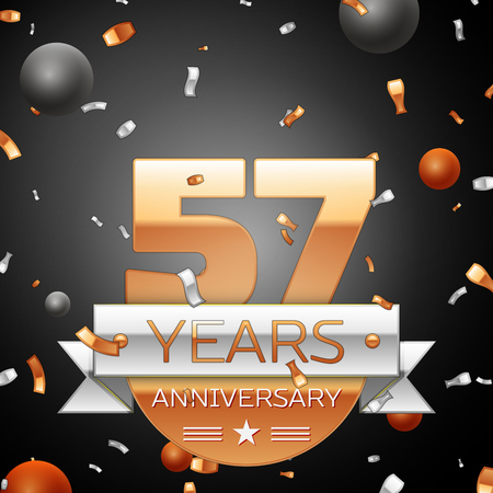 57: Fifty seven years anniversary celebration background with silver ribbon confetti and circles. Anniversary ribbon. Vector illustration.