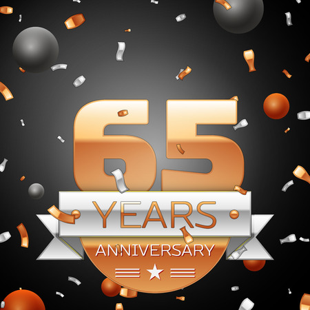 Sixty five years anniversary celebration background with silver ribbon confetti and circles. Anniversary ribbon. Vector illustration.