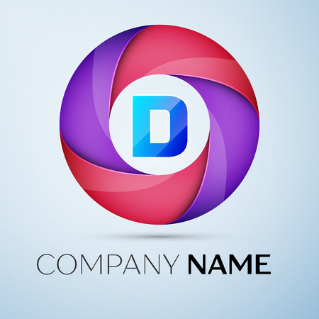 Letter D vector logo symbol in the colorful circle. Vector template for your design
