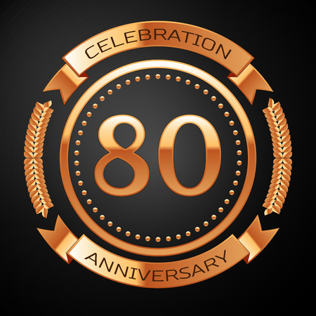 80th: Eighty years anniversary celebration with golden ring and ribbon.