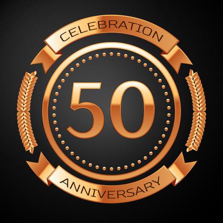 황금 반지와 리본 50 년 기념일 축 하합니다. 일러스트