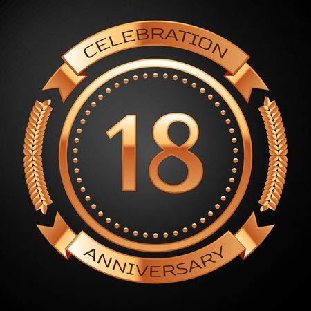 happy 18th birthday: Eighteen years anniversary celebration with golden ring and ribbon.