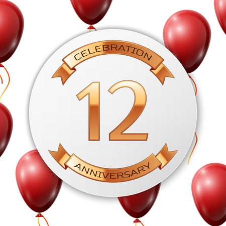 number twelve: Golden number twelve years anniversary celebration on white circle paper banner with gold ribbon. Realistic red balloons with ribbon on white background. Vector illustration.