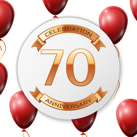 Golden number seventy years anniversary celebration on white circle paper banner with gold ribbon. Realistic red balloons with ribbon on white background. Vector illustration. Illustration