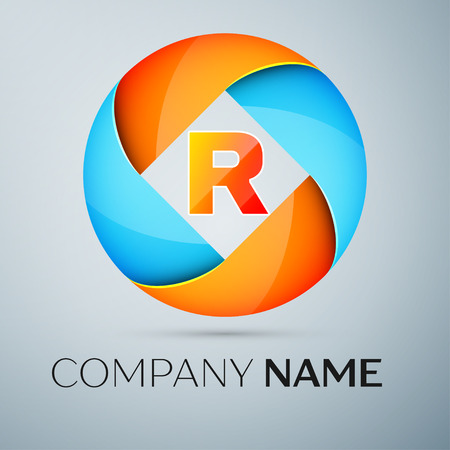 Letter R vector logo symbol in the colorful circle. Vector template for your design Illustration