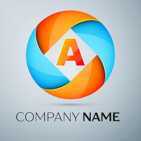 Letter A vector logo symbol in the colorful circle. Vector template for your design