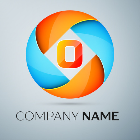 Letter O vector logo symbol in the colorful circle. Vector template for your design