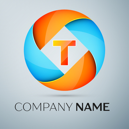 Letter T vector logo symbol in the colorful circle. Vector template for your design Illustration