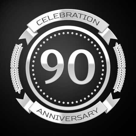 90th: Ninety years anniversary celebration with silver ring and ribbon on black background. Vector illustration