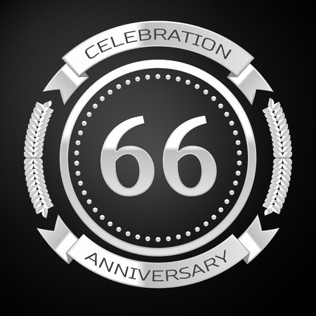 sixty six: Sixty six years anniversary celebration with silver ring and ribbon on black background. Vector illustration Illustration