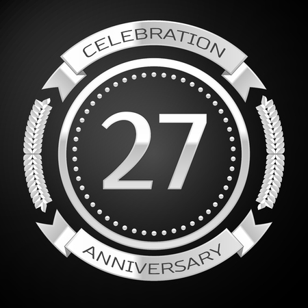 Twenty seven years anniversary celebration with silver ring and ribbon on black background. Vector illustration