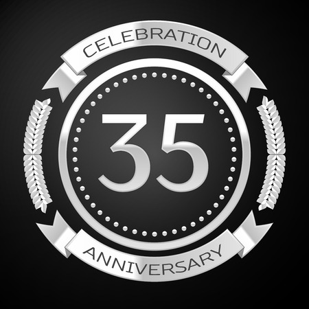 thirty five: Thirty five years anniversary celebration with silver ring and ribbon on black background. Vector illustration