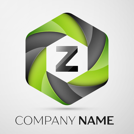 Z Letter colorful logo in the hexagonal on grey background. Vector template for your design Illustration