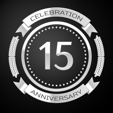 fifteen: Fifteen years anniversary celebration with silver ring and ribbon on black background. Vector illustration