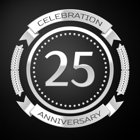 Twenty five years anniversary celebration with silver ring and ribbon on black background. Vector illustration