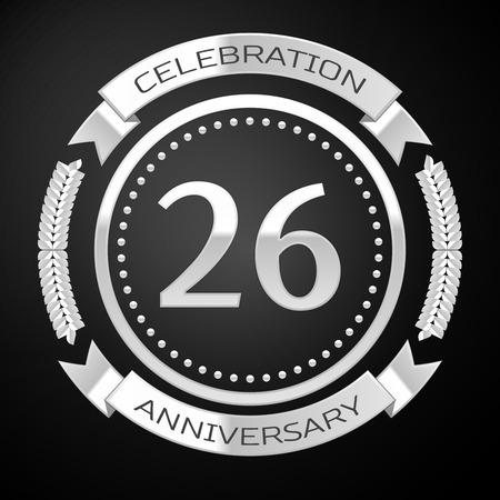 twenty six: Twenty six years anniversary celebration with silver ring and ribbon on black background. Vector illustration Illustration