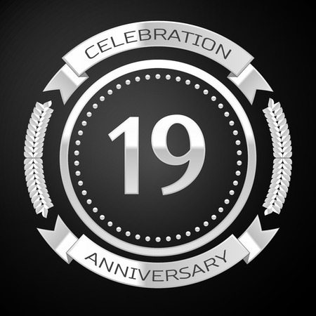 nineteen: Nineteen years anniversary celebration with silver ring and ribbon on black background. Vector illustration