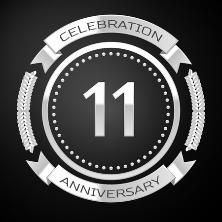 11th century: Eleven years anniversary celebration with silver ring and ribbon on black background. Vector illustration Illustration