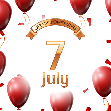 commemorate: Golden ribbon with inscription grand opening the seventh of July on white background red air balloons with confetti.