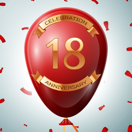 happy 18th birthday: Red balloon with golden inscription eighteen years anniversary celebration and golden ribbons on grey background and confetti.