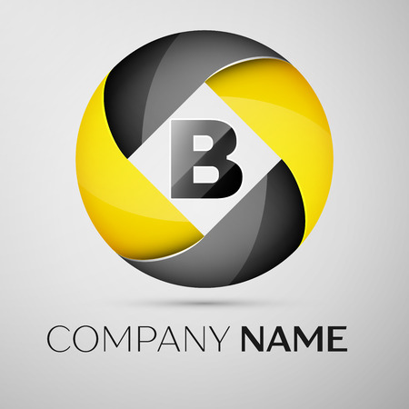 Letter B vector logo symbol in the colorful circle. Vector template for your design Illustration