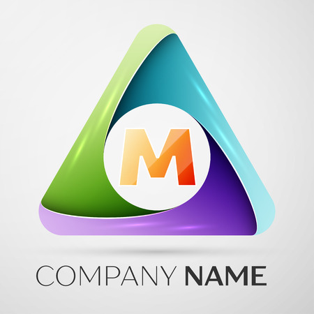 Letter M vector logo symbol in the colorful triangle. Vector template for your design
