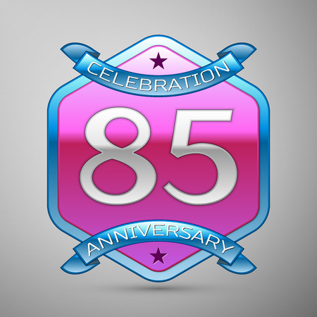 Eighty five years anniversary celebration silver logo with blue ribbon and purple hexagonal ornament on grey background.
