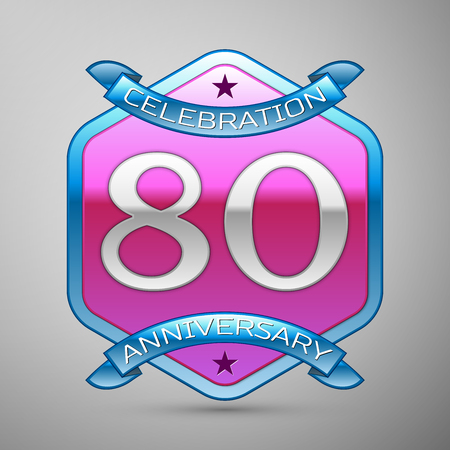 80th: Eighty years anniversary celebration silver logo with blue ribbon and purple hexagonal ornament on grey background.