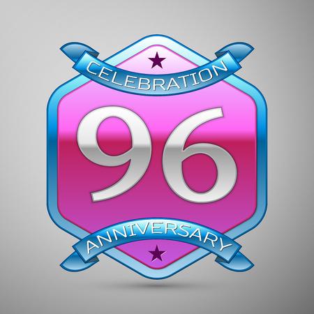 Ninety six years anniversary celebration silver logo with blue ribbon and purple hexagonal ornament on grey background. Anniversary logo for celebration, birthday, wedding, party. Illustration