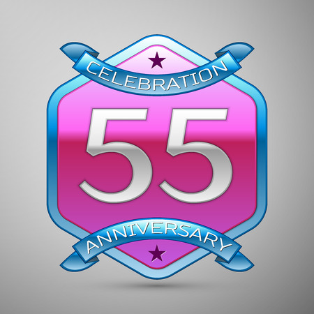 Fifty five years anniversary celebration silver logo with blue ribbon and purple hexagonal ornament on grey background. Illustration