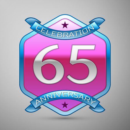 Sixty five years anniversary celebration silver logo with blue ribbon and purple hexagonal ornament on grey background. Illustration