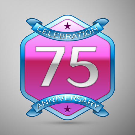 Seventy five years anniversary celebration silver logo with blue ribbon and purple hexagonal ornament on grey background.