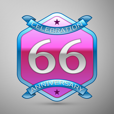 sixty six: Sixty six years anniversary celebration silver logo with blue ribbon and purple hexagonal ornament on grey background.