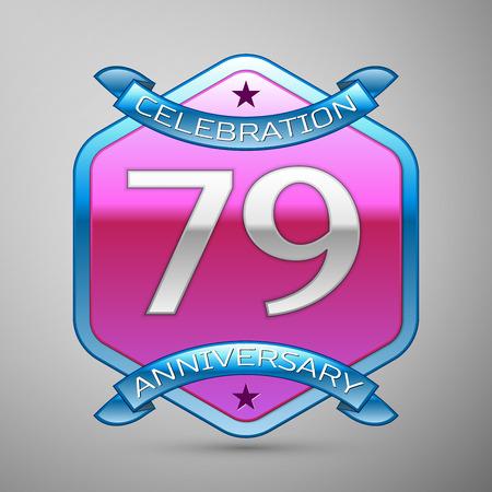 Seventy nine years anniversary celebration silver logo with blue ribbon and purple hexagonal ornament on grey background. Illustration