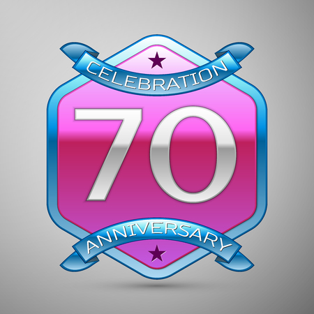 Seventy years anniversary celebration silver logo with blue ribbon and purple hexagonal ornament on grey background.