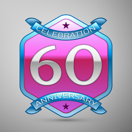Sixty years anniversary celebration silver logo with blue ribbon and purple hexagonal ornament on grey background. Illustration