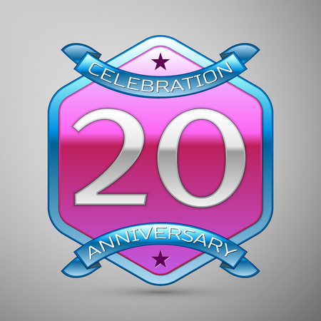 Twenty years anniversary celebration silver logo with blue ribbon and purple hexagonal ornament on grey background.