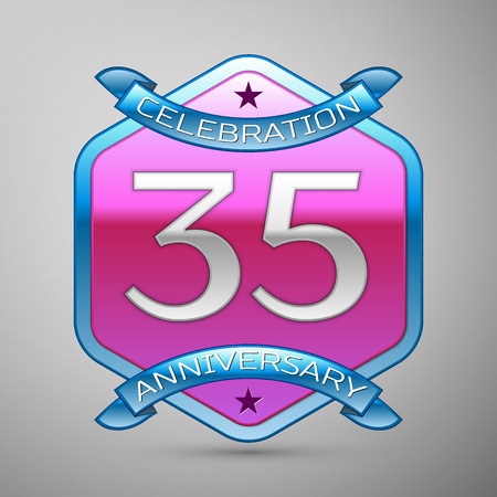 thirty five: Thirty five years anniversary celebration silver logo with blue ribbon and purple hexagonal ornament on grey background.
