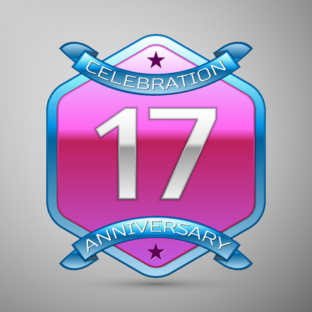 remembered: Seventeen years anniversary celebration silver logo with blue ribbon and purple hexagonal ornament on grey background. Illustration