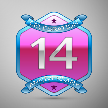 Fourteen years anniversary celebration silver logo with blue ribbon and purple hexagonal ornament on grey background.
