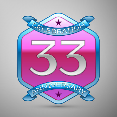 Thirty three years anniversary celebration silver logo with blue ribbon and purple hexagonal ornament on grey background.