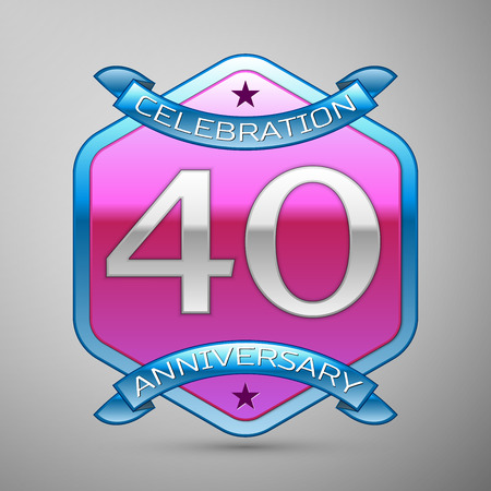 Forty years anniversary celebration silver logo with blue ribbon and purple hexagonal ornament on grey background. Illustration