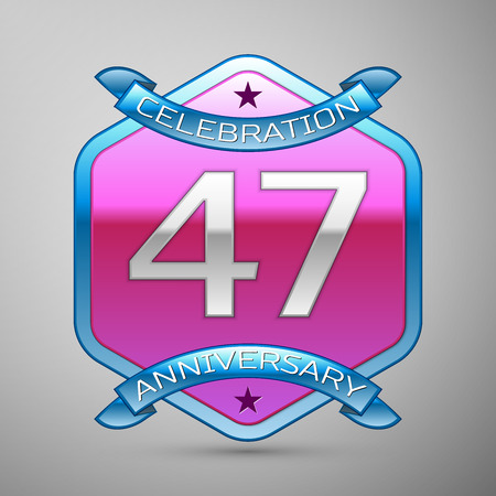 Forty seven years anniversary celebration silver logo with blue ribbon and purple hexagonal ornament on grey background. Illustration