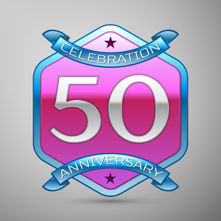 Fifty years anniversary celebration silver logo with blue ribbon and purple hexagonal ornament on grey background. Illustration