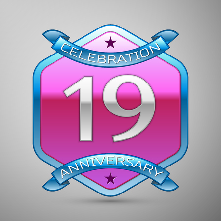 nineteen: Nineteen years anniversary celebration silver logo with blue ribbon and purple hexagonal ornament on grey background.