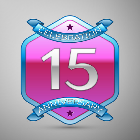 fifteen: Fifteen years anniversary celebration silver logo with blue ribbon and purple hexagonal ornament on grey background.