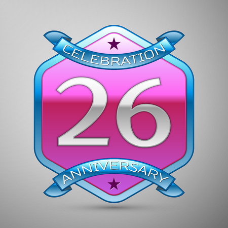 Twenty six years anniversary celebration silver logo with blue ribbon and purple hexagonal ornament on grey background.